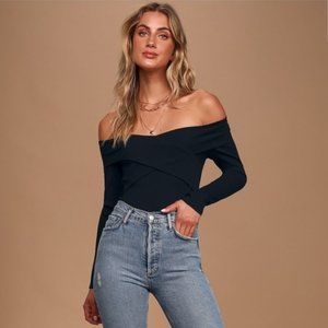 lulu's come-hither off-the-shoulder crop top